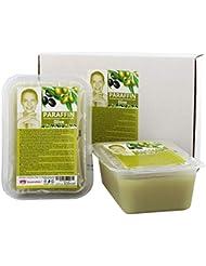 Kosmetex Paraffin-wachs Olive, Paraffinbad Wachs mit niedrigeren Schmelzpunkt, 2x 500ml