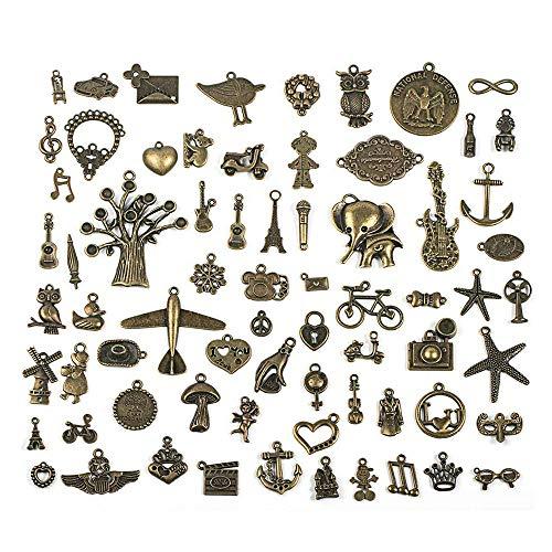 Amasawa Antiker Steampunk Anhänger Anhänger Uhr Uhr DIY Handwerk, Halskette Anhänger,Schlüsselanhänger,Schmuckherstellung, Cosplay Kostüm Zubehör Bronze (70 ()