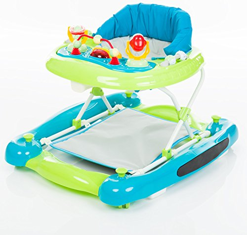 *Fillikid Gehfrei Lauflernwagen 3in1 Exclusiv | Lauflernhilfe mit Spielbrett | Laufwagen mit Schaukel-Funktion | Babyschaukel 3 fach höhenverstellbar | Baby Walker Activity Center, Design:türkis/grün*