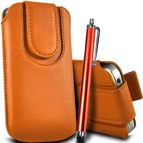 Brun/Brown - ZTE Blade Qlux 4G Housse et étui de protection en cuir PU de qualité supérieure à cordon avec fermeture par bouton magnétique et stylet tactile pour par Gadget Giant® Orange & Stylus Pen