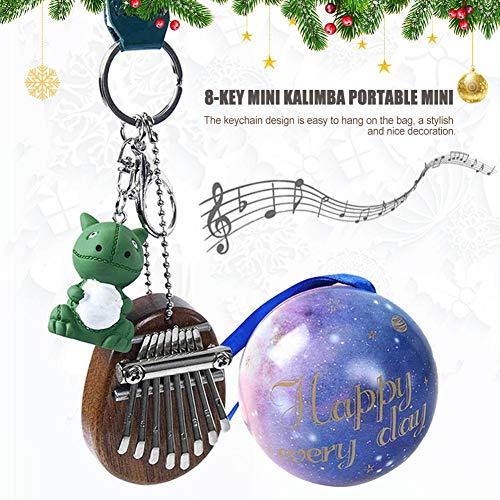 Kalimba Mit 8 Tasten Holz Musik Instrument Daumenklavier Mini Geschenkbox Tragbar Thumb Piano Mit Kleiner Dinosaurier Anhänger Weihnachts Sonderausgabe Kinder Anfänger
