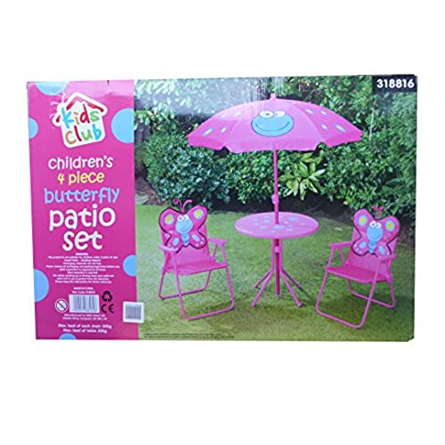 Childrens 4 Piece Patio Garden Furniture U0026 Parasol Set   Pink Butterfly. By  Kids Club