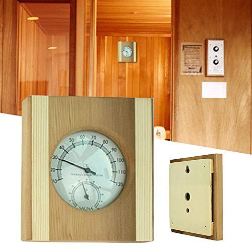 Motto.h Saunathermometer Hygrometer, Aus Holz Präziser Temperatur-Feuchtigkeits-Monitor Saunaraumzubehör Für Terrassen Saunen Wandverkleidungen Häuser Zimmer Wohnungen Büros Zigarren Inkubatoren ideal