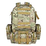 TOPQSC Tactical Military Rucksack, Bergsteigen 55L kombiniert mit 3 weichen Taschen, Oxford 600D Material auch stark für Reisen, Ausflüge, Wandern, Radfahren, Camping