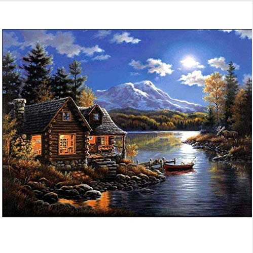 LMTQWC Diamond Painting Full Square 5D DIY Hand Made Diamond Embroidery Painting Exquisite Stitch of Mosaic Riverside Wooden House Picture Home Decor 40X50CM
