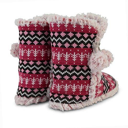 Donna Dunlop A Maglia Pantofole Fair Isle Caldo Stivaletto Eskimo Inverno Donna Pantofole Rosa