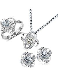 Collar Pendientes Anillo Plata - Corazón Eterno Juegos de Joyas para Mujer