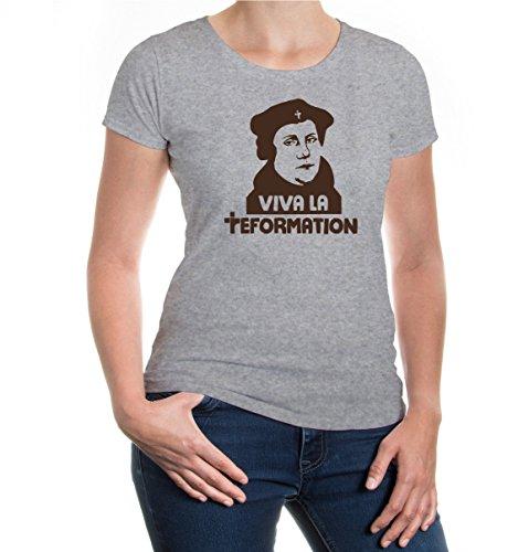buXsbaum Damen Kurzarm Girlie T-Shirt Bedruckt Viva La Reformation   Martin Luther Zeitalter   S Heathergrey-Brown Grau