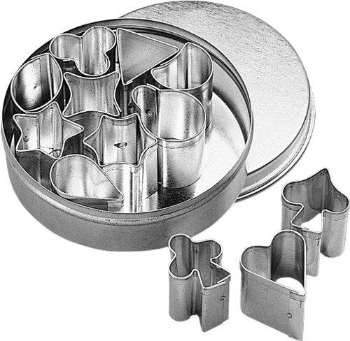 Birkmann 170063 Set de 12 emporte-pièces de garniture, petits, 1-2 cm, dans boîte métallique ø 6,5 cm, fer-blanc