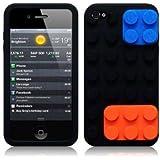 OnlineBestDigital - iPhone 4S / iPhone 4 Style brique Etui silicone / Couverture / Shell - Noir avec Bleu et Orange