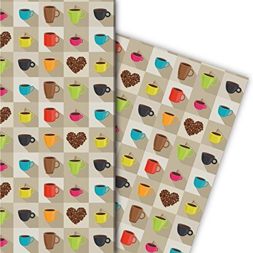 Modernes Kaffeepausen Geschenkpapier mit Bechern und Kaffeebohnen Herz für tolle Geschenk...