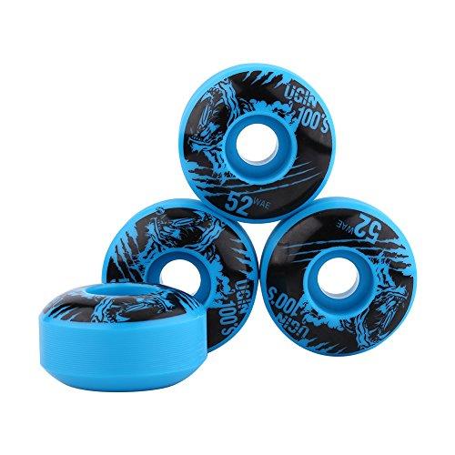 Alomejor 4 Stücke/Set Skateboard Räder Outdoor Classic 52mm x 30mm PU Cruiser Longboard Skateboard Ersatzradsatz(Blau)