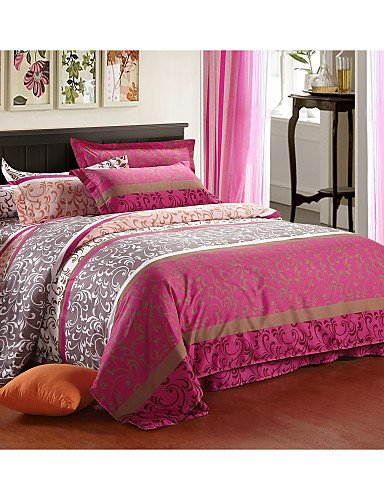 LIANGTT Vier Sätze Bettwäsche,aloe Baumwollgewebe 4 Stück Bett Auskleidungen aktiven Druck Einzel- oder Doppelbettdecke Bettwäsche-Set, king