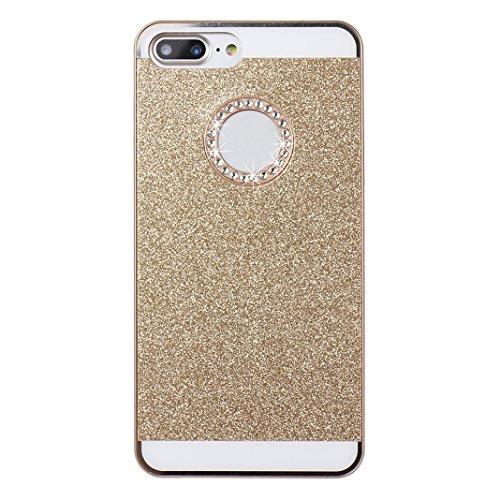 2 PCS iPhone 8 Plus/ iPhone 8 Plus Hülle Glitzer, iPhone 7 Plus Hard Glitzer Case, iPhone 8 Plus Hard Glitzer Case, Moon mood® Ultra Slim Thin 3D Bling Strass Hülle Hart Bling Gliter Handytasche Krist Gold