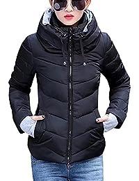 Chaqueta a prueba de viento de mujeres - Zip Up Chaqueta acolchada corta de invierno Chaqueta de moda Acolchado Casual Outwear