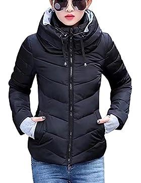 Chaqueta a prueba de viento de mujeres - Zip Up Chaqueta acolchada corta de invierno Chaqueta de moda Acolchado...