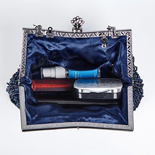 Borsa Pochette Retro Borsa Sacchetto Donne Eleganti Pochette Da Sera (Nero) Blu marino
