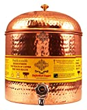 Indian Art Villa Hammered Copper Water Dispenser Pot Tank, Kitchenware, Ayurveda Healing, 7 Ltr