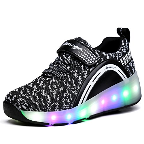 Unisex Schuhe mit Rollen Kinder Skateboard Schuhe Rollschuh Schuhe LED Light Wheels Sneakers Outdoor-Trainer für Junge Mädchen (32 EU, Ein Rad / Schwarz)