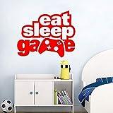zhuziji Eat Sleep Game Adesivo Gaming Gamer Adolescenti Camera da Letto Adesivo in PVC per camerette 88A-5 57x46cm