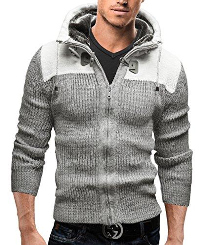 Merish Strickpullover Kapuze Pullover Strickjacke Slim Fit Herren 312 Weiß