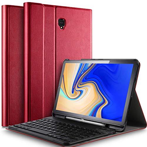 IVSO Tastatur Hülle für Samsung Galaxy Tab S4 T830/T835,[QWERTZ Deutsches], Slim PU Fronthalterung Hülle mit Abnehmbar Tastatur für Samsung Galaxy Tab S4 T830/T835 10.5 Zoll 2018, Rot