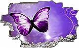DesFoli Schmetterling Butterfly 3D Look Wandtattoo 70 x 115 cm Wanddurchbruch Wandbild Sticker Aufkleber C074