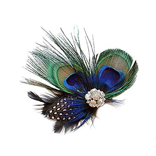 BOLAWOO-77 Charleston Pfau Feder Hairpin Stirnband Besondere Anlässe Damen Mädchen Haar Band Elegant Mode Vintage Haarklammer (Color : Picture, Size : One Size)