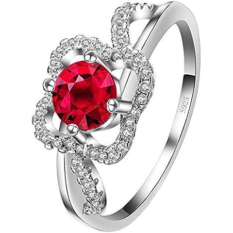 So Chic Gioielli - Anello di Fidanzamento Apolline - Solitario Fiore Vuoto - Zirconia Cubica Rosso Bianco & Argento Sterling 925