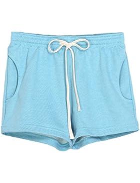 Donna Tinta Unita Estivi Pantaloncini Coulisse Vita Elastica Casuale Sport Fitness Pantaloni Corti Hot Pants Pink...