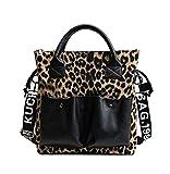 RFVBNM Elegante Leopardo Bolso de Gran Capacidad Bolso Femenino Peludo Bolso de un Solo Hombro Bolso Especial, Caqui