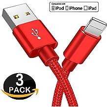 Cable Lightning - Zeuste Cargador iPhone [3PACK 1.5M] Nylon Cable para iPhone 7 7Plus SE 6s 6 Plus 5s 5c 5 se, iPad Pro Air 2, iPad mini 4 3 2, iPod touch 5th gen / 6th gen / Nano 7th gen, Gris Cable iPhone (Rojo)