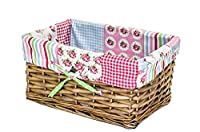 east2eden Small Shallow Brown Wicker Storage Basket & Patchwork Lining in Choice of Sizes & Deals (Medium)