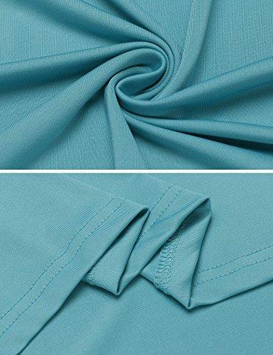 ZEARO Damen T-Shirt Top Schulterfrei unregelmäßige rundhals einfach langarm Blau