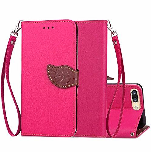 Leaf magnétique TPU PU Housse en cuir Case Wallet Stand pour Apple iPhone 7 Plus 5.5 pouces ( Color : Red , Size : IPhone 7 Plus ) Rose