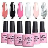 AIMEILI UV LED Gellack mehrfarbig ablösbarer Gel Nagellack Gel Nail Polish Set - 6 x 10ml - Kit Nummer 1