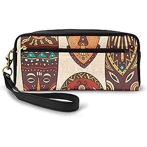 Patrón Africano Tribal en máscaras rituales Accesorios étnicos Cultura indígena Pequeña Bolsa de Maquillaje Estuche de lápices 20cm * 5.5cm * 8.5cm