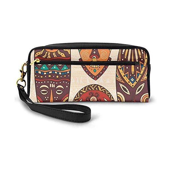 Patrón Africano Tribal en máscaras rituales Accesorios étnicos Cultura indígena Pequeña Bolsa de Maquillaje Estuche de…