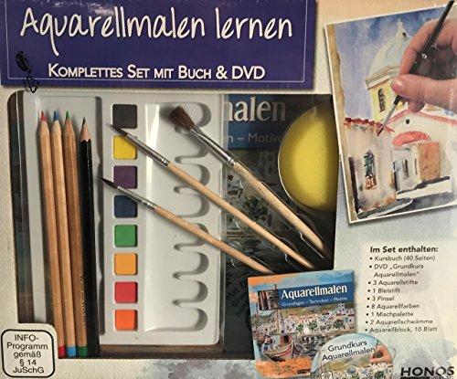 XXL AQUARELL-MALEN lernen Komplett-Set + Buch + DVD + Mischpalette + 3 Aquarellstifte + 3 Pinsel + 1...