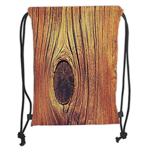 ZKHTO Drawstring Sack Backpacks Bags,Rustic Home Decor,Lfe Tree Concept with Divided Core Macro Circles Habitat Natural Wonder Photo,Brown Soft Satin,5 Liter Capacity,Adjustable String Closur