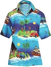 LA LEELA las Mujeres Camisa Hawaiana Blusa Playa Ocasional
