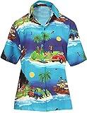 LA LEELA Aloha Party Hawaii Bluse Top-Frauen Shirt Weihnachten WEIHNACHTSMANN Jingle Bells Weihnachtsbaum Chirstmas Blau_X206 L - DE Größe :- 46-48