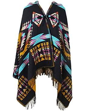 Hoodies De Otoño Invierno Elegantes Moda Poncho Mujer BufandaBoho Sencillos Especial Casual Borlas Irregular Multicolor...