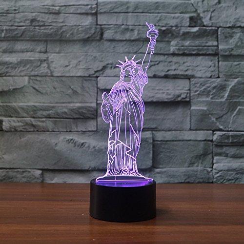 Ahat Romantische 3D Led Illusion Tisch Schreibtisch Deko Lampe 7 Farben ändern Nacht Licht für Schlafzimmer Home Decoration, Hochzeit, Geburtstag, Weihnachten und Valentine Geschenk(Freiheitsstatue)