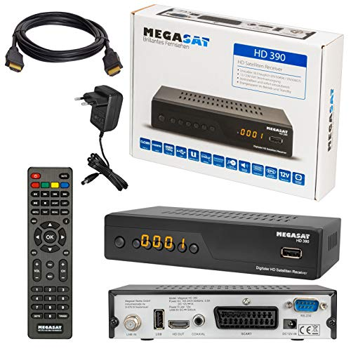 SATELLITEN SAT Receiver ✨ HB DIGITAL DVB-S/S2 Set: MEGASAT HD 390 DVB-S/S2 Receiver + HDMI Kabel mit vergoldeten Anschlüssen (HDTV, HDMI, SCART, USB, Coaxial Digital Audio)