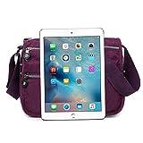 Moonbuy Womens Nylon/Fabric Multi Zip Pockets Lightweight Cross Body Shoulder Messenger Bag , Casual Handbag Travel Bag (Purple)