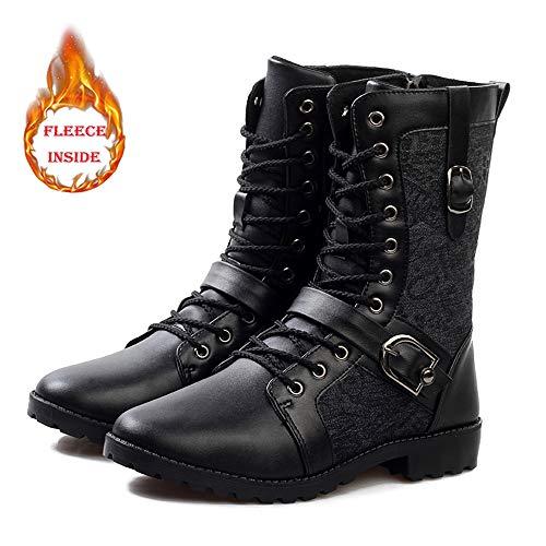 Shufang-shoes Personalidad de los hombres Estilo caliente Botas a media pierna Casual Faux Fleece Dentro Tela de lienzo en relieve con cordones de metal con hebilla de cinturón de metal Decoración Zap