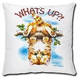 TRIOSK Kissen Katzenmotiv Katze What's Up, Geschenk Frauen Katzenliebhaber, Dekokissen Bezug inkl. Füllung Reißverschluss, Weiß Bunt, 40x40 cm