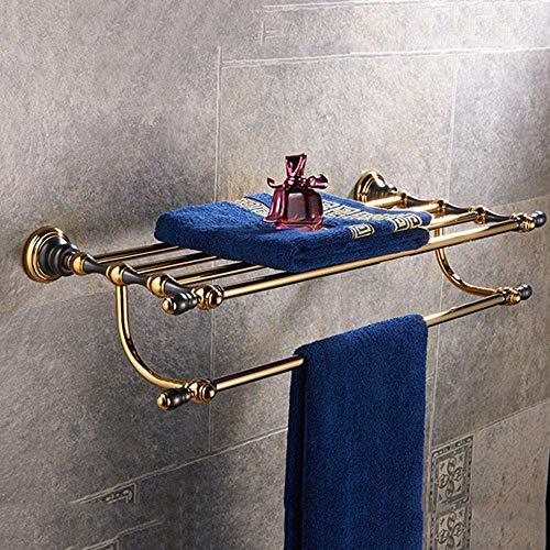 Mengen88 Wandregale Handtuch-Rack, Badezimmerkupfer und Gold-Farbe Doppeltuchregal, Raumsparen für Handtücher, (Kupfer)