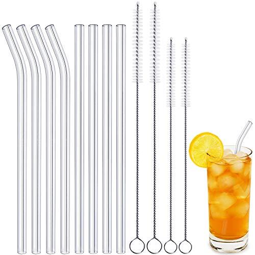 OUSI Glasstrohhalme Mehrwegstrohhalme Set mit 4 Smoothie-Strohhalmen aus gebogenem Glas und 4 Trinkhalmen mit 2 + 2 Reinigungsbürsten für Smoothies, Shakes, Cocktails und kalte Getränke 4 Gläser